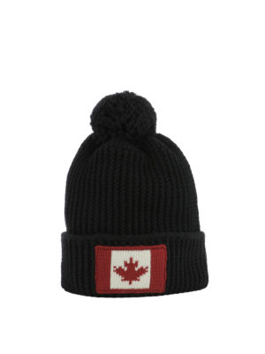 Dsquared2: beanies - Canada flag patch knit wool beanie