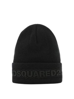 DSQUARED2: berretti - Berretto Dsquared2 nero in lana a costine