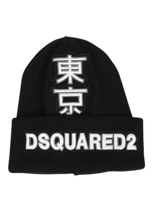 Dsquared2: beanies - Japanese logo patch beanie