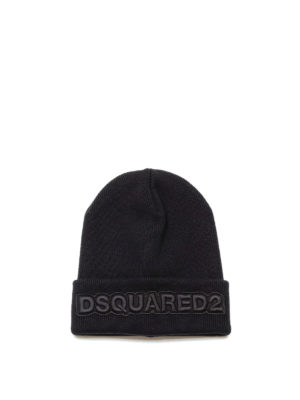 Dsquared2: beanies - Logo embroidered ribbed wool beanie
