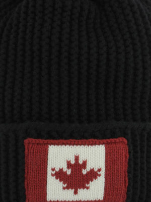 Dsquared2: beanies online - Canada flag patch knit wool beanie