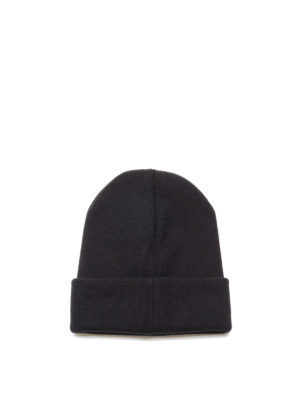Dsquared2: beanies online - Logo embroidered ribbed wool beanie