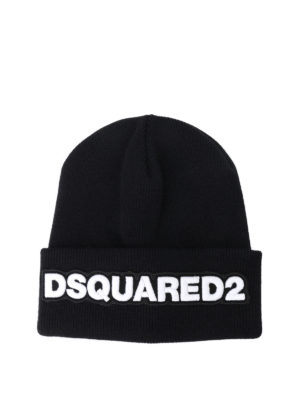 Dsquared2: beanies - Ribbed wool logo beanie