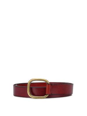 DSQUARED2: cinture - Cintura in pelle con fibbia in ottone