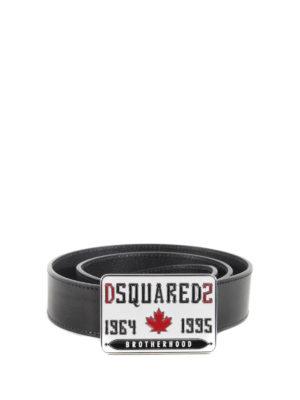 Dsquared2: belts - Logo buckle detailed leather belt