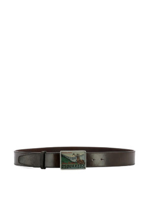 Dsquared2: belts - Logo buckle leather belt