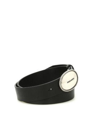 Dsquared2: belts - Logo buckled leather belt