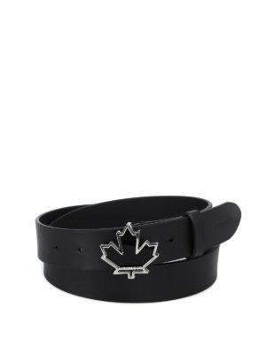 DSQUARED2: cinture - Cintura in pelle con fibbia foglia d'acero