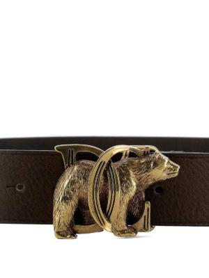 Dsquared2: belts online - Gold-tone logo buckle leather belt