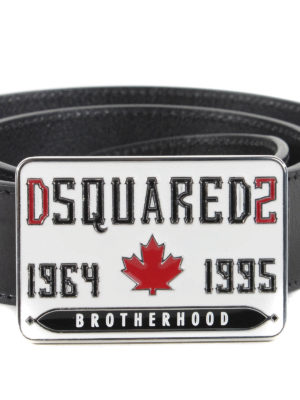 Dsquared2: belts online - Logo buckle detailed leather belt