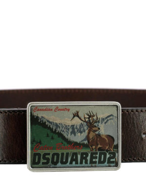 Dsquared2: belts online - Logo buckle leather belt