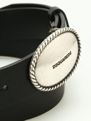 Dsquared2: belts online - Logo buckled leather belt