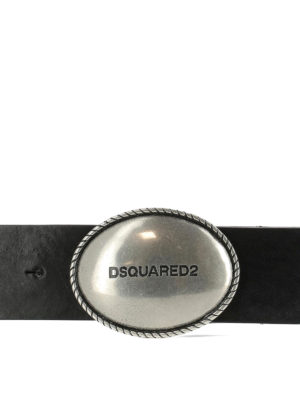 Dsquared2: belts online - Logo plaque black leather belt