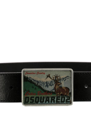 Dsquared2: belts online - Logo plaque buckle leather belt