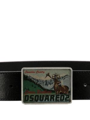 Dsquared2: belts online - Logo plaque buckle leather belt