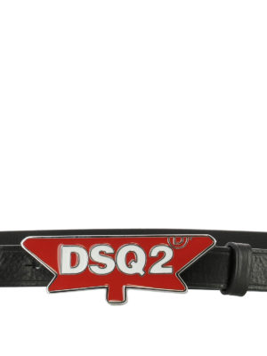 Dsquared2: belts online - Red logo buckle black leather belt