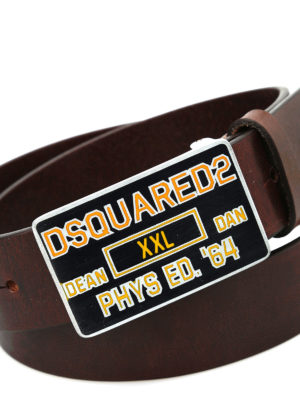 Dsquared2: belts online - Squared metal buckle leather belt