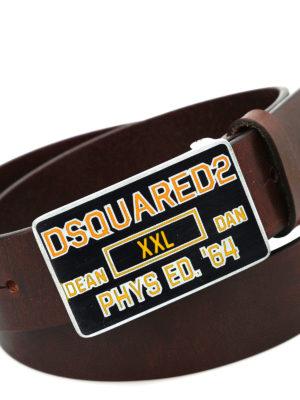 Dsquared2: belts online - Squared metal buckle leather belt
