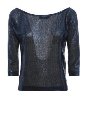 DSQUARED2: maglia collo a barchetta - Maglia a barca in rete con lurex blu scuro