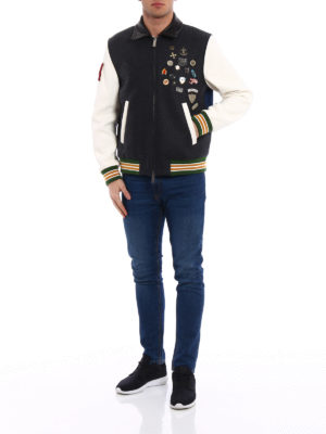 Dsquared2: bombers online - Wool leather and denim bomber