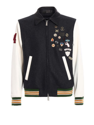 Dsquared2: bombers - Wool leather and denim bomber