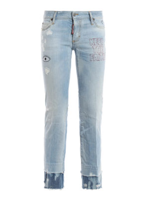 Dsquared2: bootcut jeans - Embroidered flare jeans
