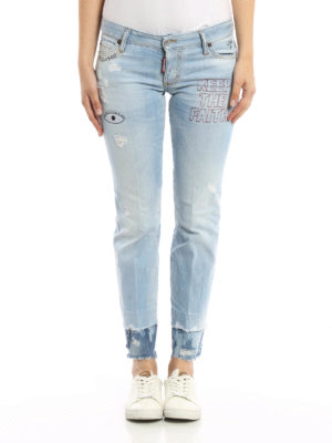 Dsquared2: bootcut jeans online - Embroidered flare jeans