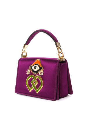 Dsquared2: bowling bags online - Eye detail satin bowling bag