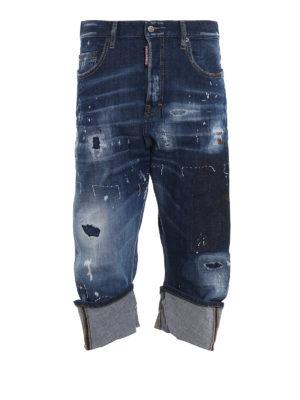 DSQUARED2: Boyfriend - Jeans tre quarti Kawaii effetto super used
