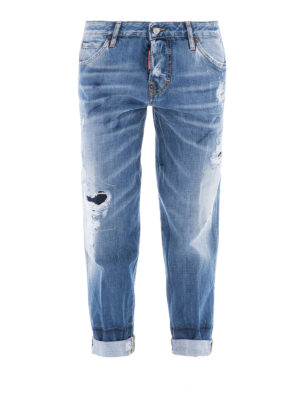 DSQUARED2: Boyfriend - Jeans Light Blue Marks Hockney