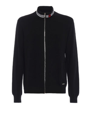 DSQUARED2: cardigan - Cardigan in lana con collo alto a righe