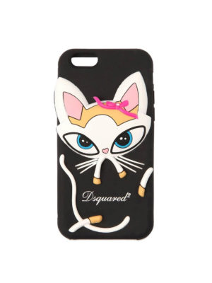 DSQUARED2: custodie e cover - Cover per iPhone 6/6s/7/8 con gatto a rilievo