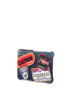 Dsquared2: Cases & Covers online - Patch detail denim beauty bag