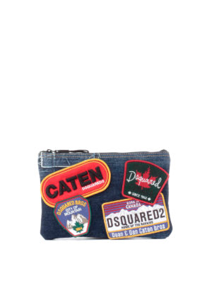 Dsquared2: Cases & Covers - Patch detail denim beauty bag