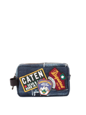 Dsquared2: Cases & Covers - Patch detail denim beauty case