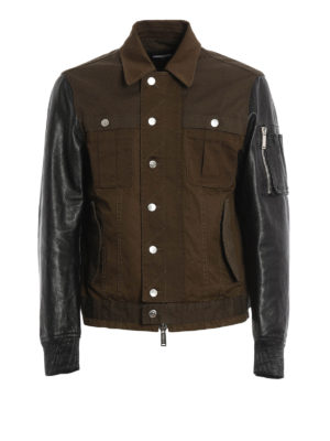 Dsquared2: casual jackets - Leather and cotton jacket