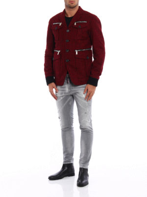 Dsquared2: casual jackets online - Check wool field jacket