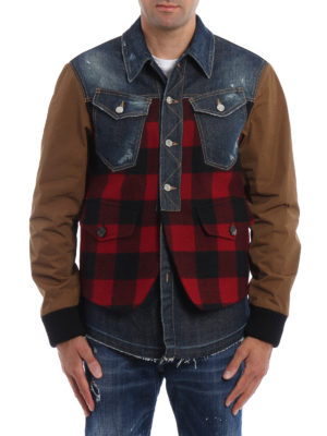 Dsquared2: casual jackets online - Denim Buffalo Check jacket