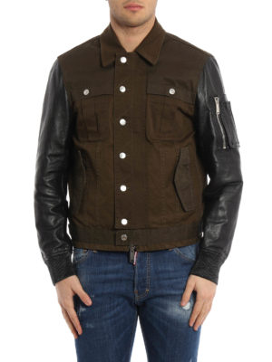 Dsquared2: casual jackets online - Leather and cotton jacket