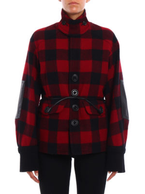 Dsquared2: casual jackets online - Wool tartan belted jacket