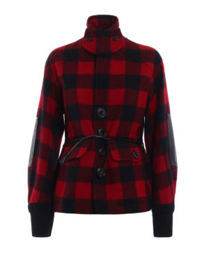 Dsquared2: casual jackets - Wool tartan belted jacket
