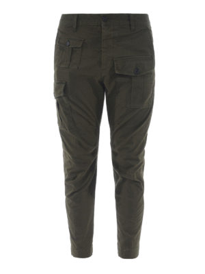 DSQUARED2: pantaloni casual - Pantaloni cargo in cotone verdone