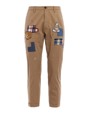 Dsquared2: casual trousers - Cotton cropped chinos with patches