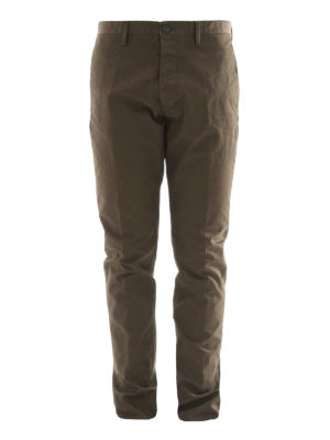 Dsquared2: casual trousers - Dark green cotton chino trousers