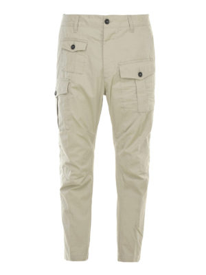 Dsquared2: casual trousers - Gabardine cotton cargo trousers