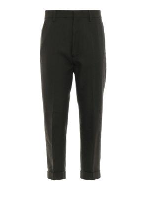 DSQUARED2: pantaloni casual - Pantaloni crop in lana vestibilità morbida