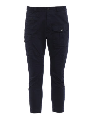 Dsquared2: casual trousers - Navy blue cotton cargo trousers