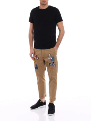 Dsquared2: casual trousers online - Cotton cropped chinos with patches