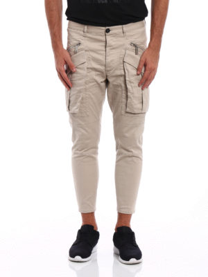 Dsquared2: casual trousers online - Cotton drill cargo crop pants