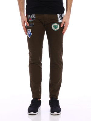 Dsquared2: casual trousers online - Patch cotton drill chinos
